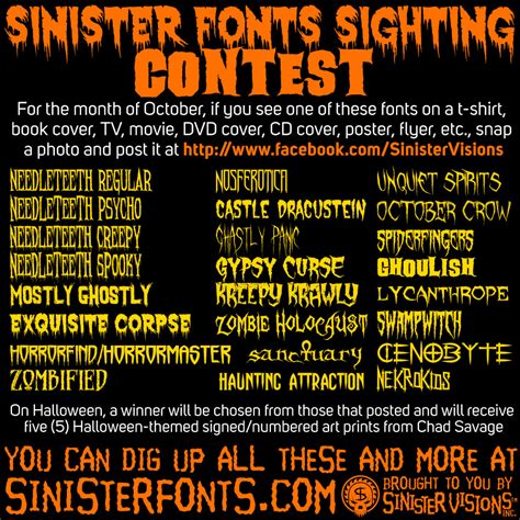 contest for 2014 sinister fonts sighting contest for october 2014 the