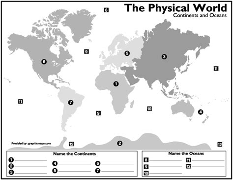 printable world map with continents and oceans best photos of 7 continents and oceans printables world