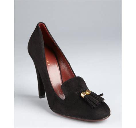 black loafer pumps gucci suede tassel loafer pumps in black lyst