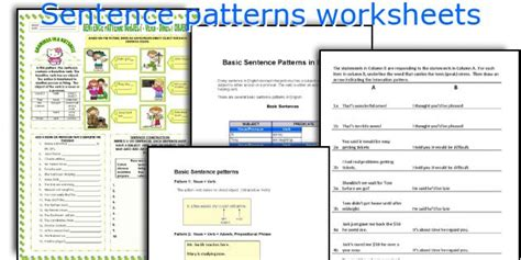 sentence pattern quiz printable pattern worksheets 187 pattern worksheets high school