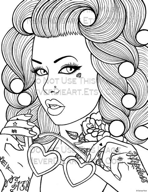 Digital Download Print Your Own Coloring Book Outline Page Pin Up Coloring Pages Printable