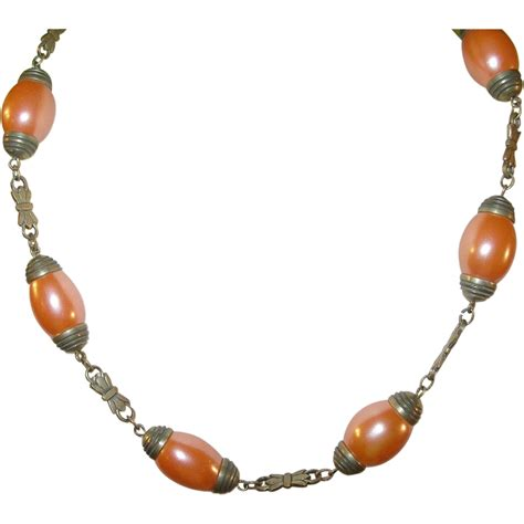 vintage glass bead necklace vintage czechoslovakian glass bead necklace from