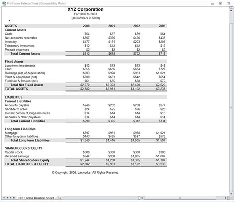 proforma income statement proforma income template