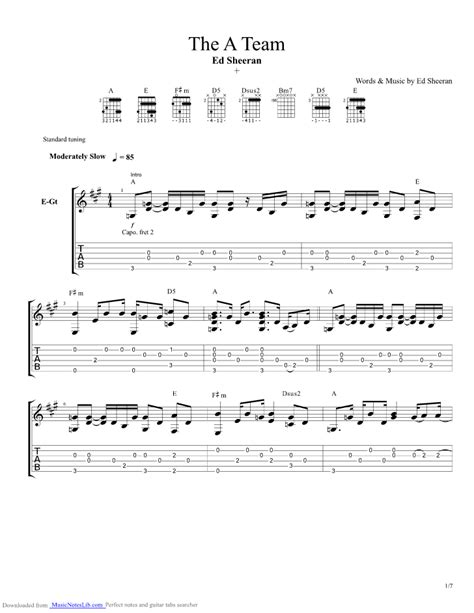 ed sheeran chords a team the a team guitar pro tab by ed sheeran musicnoteslib com