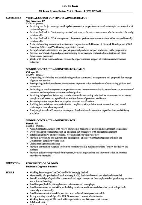 senior contracts administrator resume sles velvet
