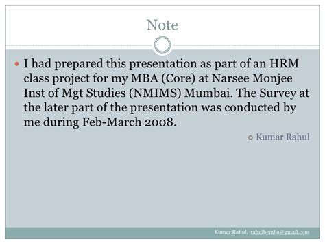 Narsee Monjee Part Time Mba by Career Development In Hrm By Kumar Rahul