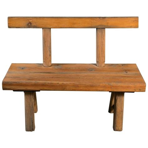 oak bench with back primitive handmade oak bench with back circa 1920 for