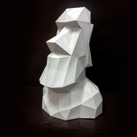 3d Paper Folding - printable paper model of moai 3d trophy from mushmool on