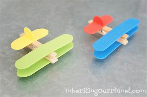airplane clothespin craft inheriting our planet