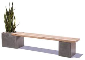 outdoor cement bench concrete wood planter bench by tao concrete modern
