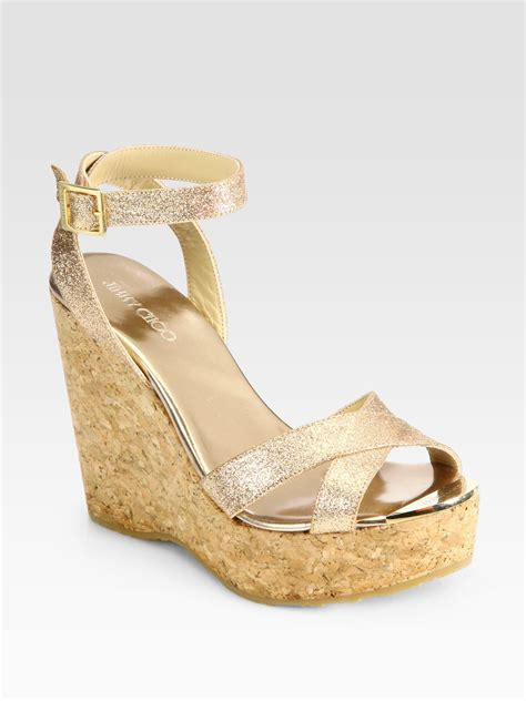 Sandal Wanita Wedges Krem 04 Jimmy Choo Papyrus Glitter Cork Wedge Sandals In Metallic