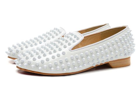 mens white loafers shoes bottom shoes silver spikes loafers white in s