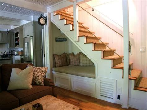 sofa under stairs efficient tips to use the alcove under staircase home