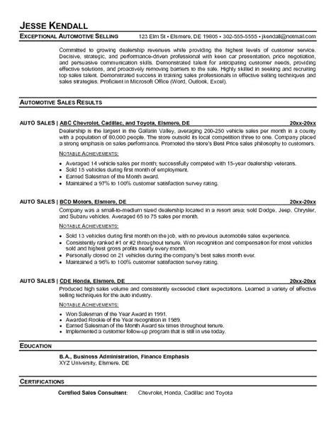 Auto Sales Resume by Auto Sales Resume F Resume
