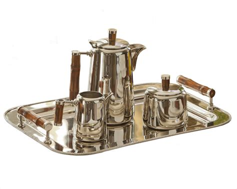 brass and nickel decor nickel tea set with bamboo handle tray sold seperately