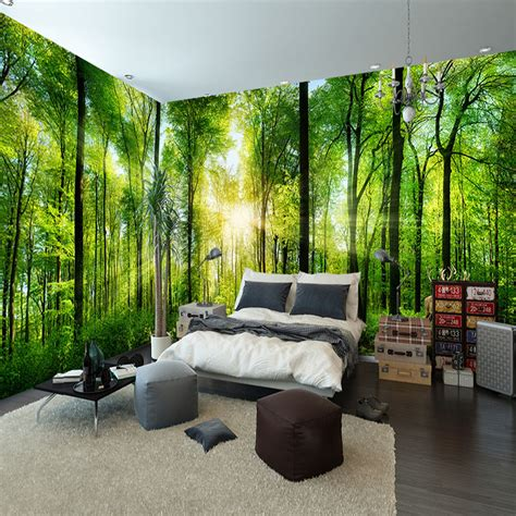 buy custom mural natural scenery wallpaper forest  landscape background wall