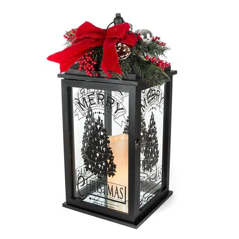 home accents holiday 23 in h black wooden lantern with