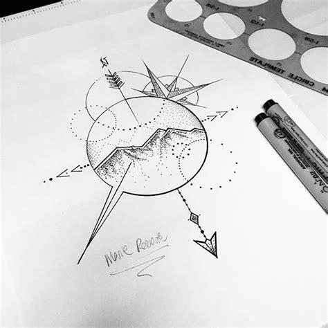 arrow compass tattoo tumblr mountains raleighnc northcarolina mountaintattoo abstract