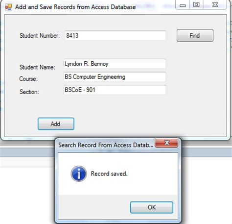 tutorial visual basic database access adding and saving records to access database using vb net