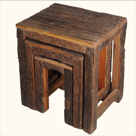Railroad Furniture by Rustic Railroad Ties Reclaimed Wood 3 Nested End Tables