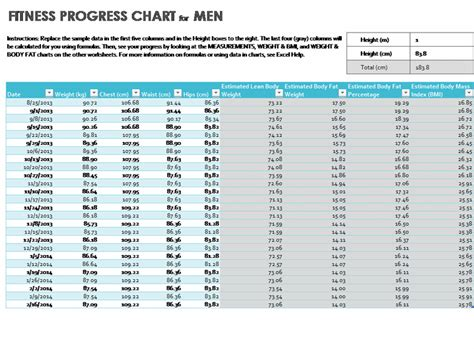 progress chart excel template health and fitness office