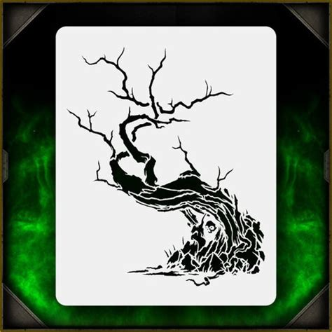 creepy tree 1 airbrush stencil template airsick zombies