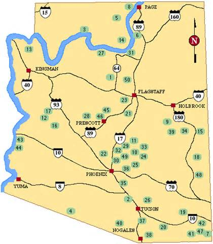 arizona rv parks map top 50 csites in arizona greatoutdoors