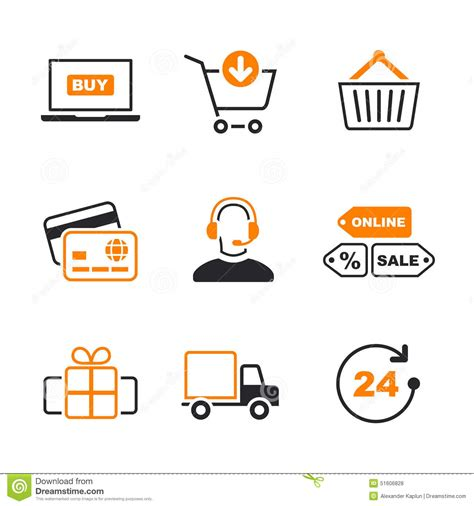 Gift Cards For Online Shopping - online shopping simple vector icon set stock vector image 51606828