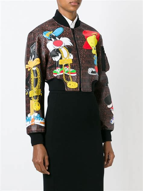 Moschino Bomber Jacket moschino looney tunes bomber jacket in multicolor brown