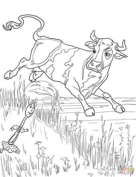 coloring page cow jumping over moon cow jumped over the moon coloring page free printable