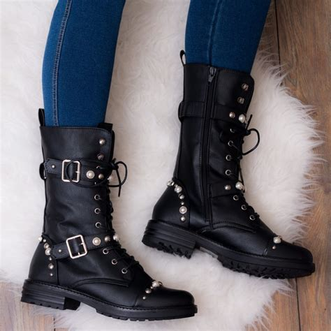 flat biker boots gretchen black ankle boots shoes from spylovebuy com