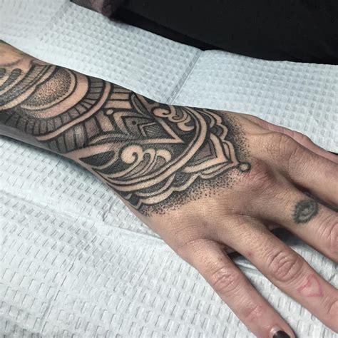 ornate hand tattoo  crescent moon  laura jade tattoos