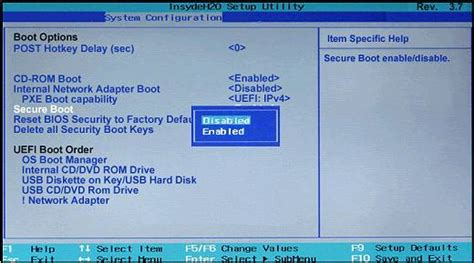 reset bios security to factory default hp how do i disable uefi secure boot