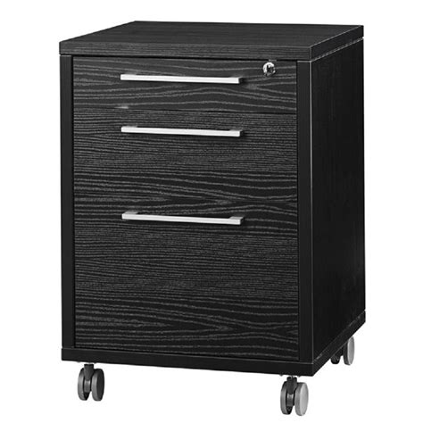 3 Drawer Wood Mobile Filing Cabinet In Black Wood Grain Black Wood Filing Cabinet