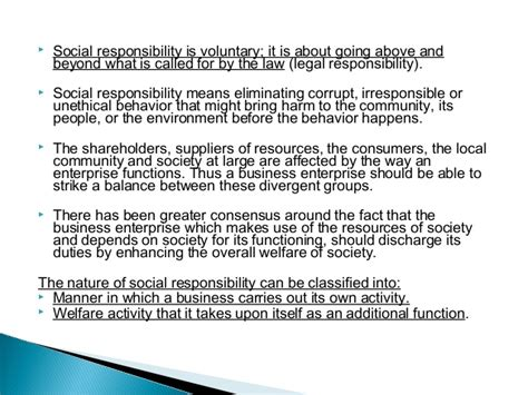 Responsibilities Of Business by Social Responsibility Of Business