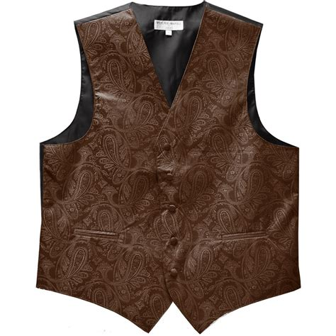 brown patterned vests new men s tuxedo vest waistcoat only paisley pattern brown