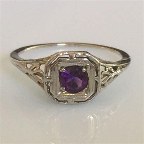 deco amethyst ring deco amethyst ring in 14k white gold filigree circa 1920