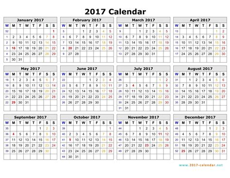 printable calendar 2017 by week 2017 calendar with week numbers excel printable 2017
