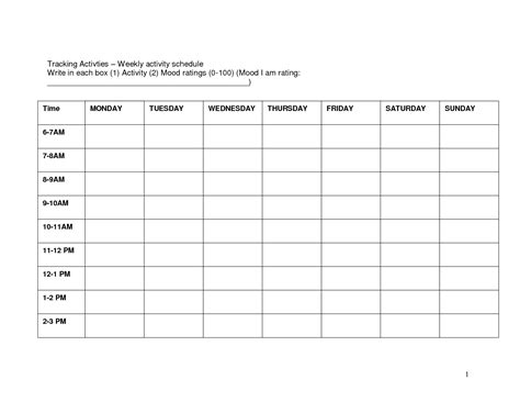 weekly activity planner template search results for templates to create a weekly schedule