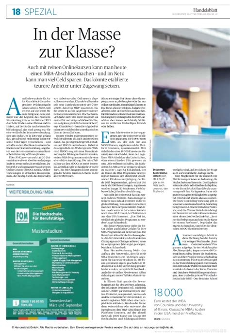 Mba In Germany Cost by Zero Cost Mba Handelsblatt Leading Business Daily Of