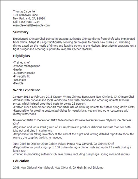 Asian Chef Sle Resume by Chef Resume Template Best Design Tips Myperfectresume