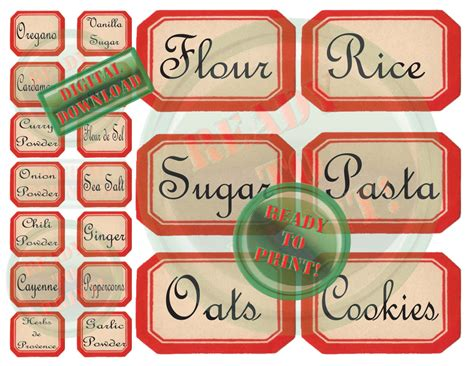 Kitchen Labels 40 Kitchen Labels Printable Vintage Style Canister Herbs