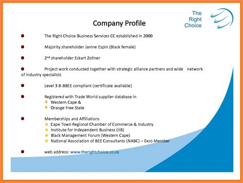 3 sle company profile format in word company letterhead