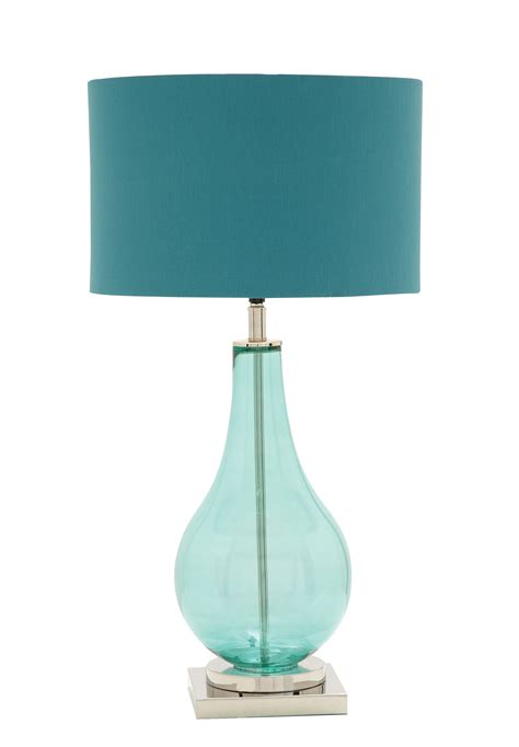 Teal Blue and Chrome Table Lamp