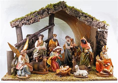 large christmas crib 10 inch resin figures with stable