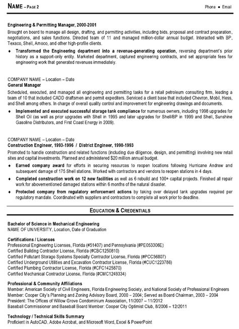 resume sle 10 engineering management resume career resumes