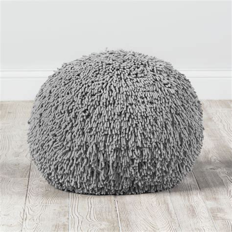 shaggy bean bag chair shaggy pouf grey the land of nod