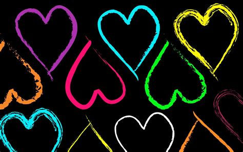 neon heart wallpaper hd full hd colourful