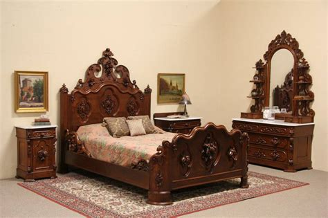 victorian bedroom set victorian carved oak chestnut 1860 queen size 4 pc