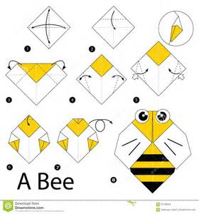 Origami Bee - step by step how to make origami a bee stock